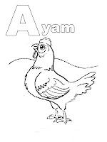 Mewarnai Huruf Abjad A - Ayam
