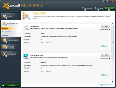 Avast Interface