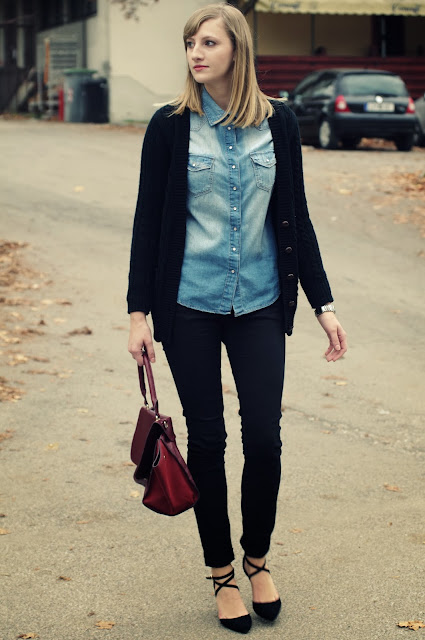 fashion trends 2013, fashion blog, fashion blogger, denim shirt, outfit, black pants, asos heels, oxblood trapeze bag, lookalike, boyfriend cardigan, fall 2013 2014, primark, H&M