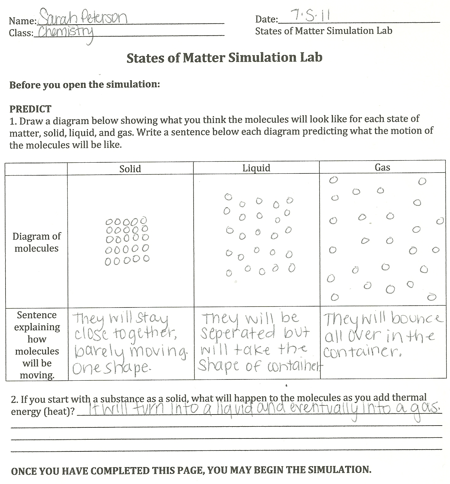 Summer Chemistry 2011 Activity 6 – Physical and Chemical Properties of Matter Worksheet