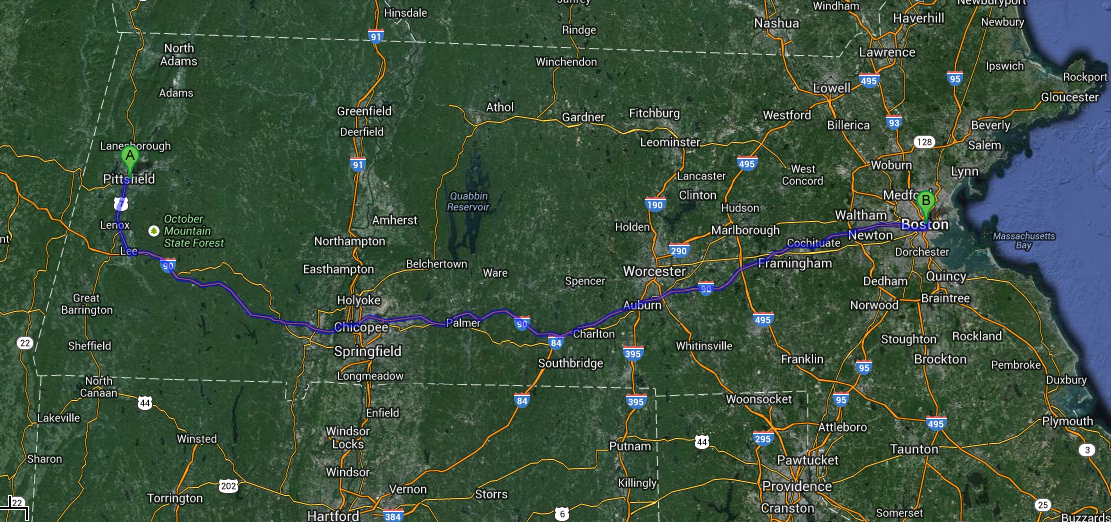 Drive from Pittsfield to Boston, Massachusetts