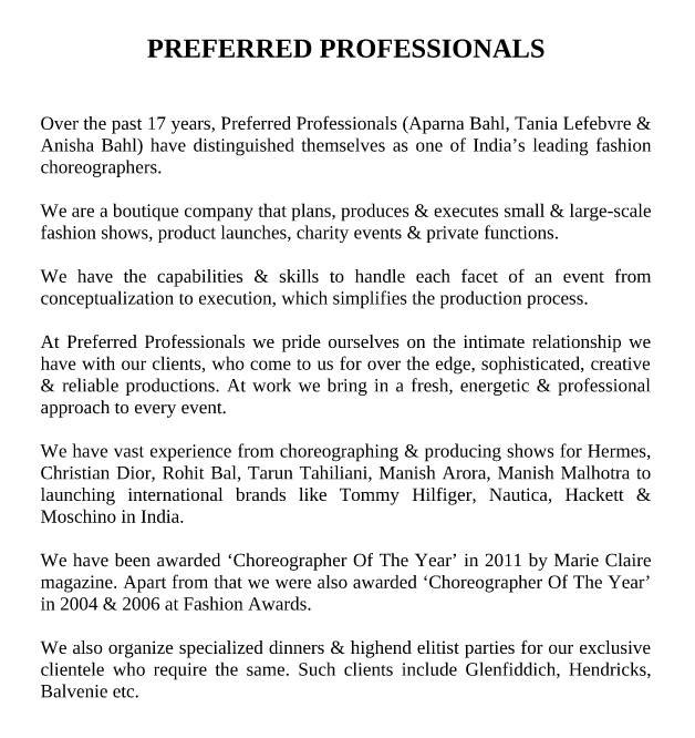 Preferred Professionals Press Kit