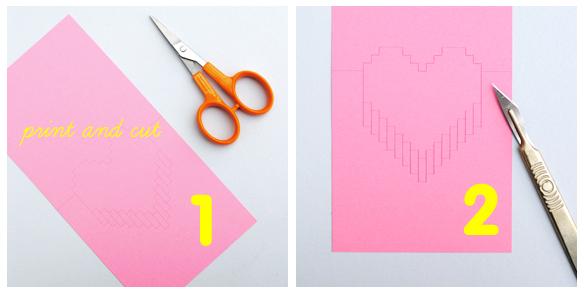 DIY Valentine Pop Up Pixels Card