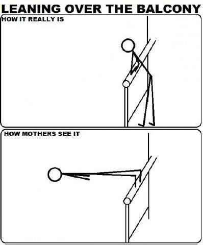 Leaning Over The Balcony - How It Really Is - How Mothers See It