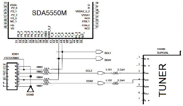 Hình 15 - CPU điều khiển khối kênh (TUNER) thông qua các tín hiệu SDA (Signal Data) và SCL (Signal Clock)