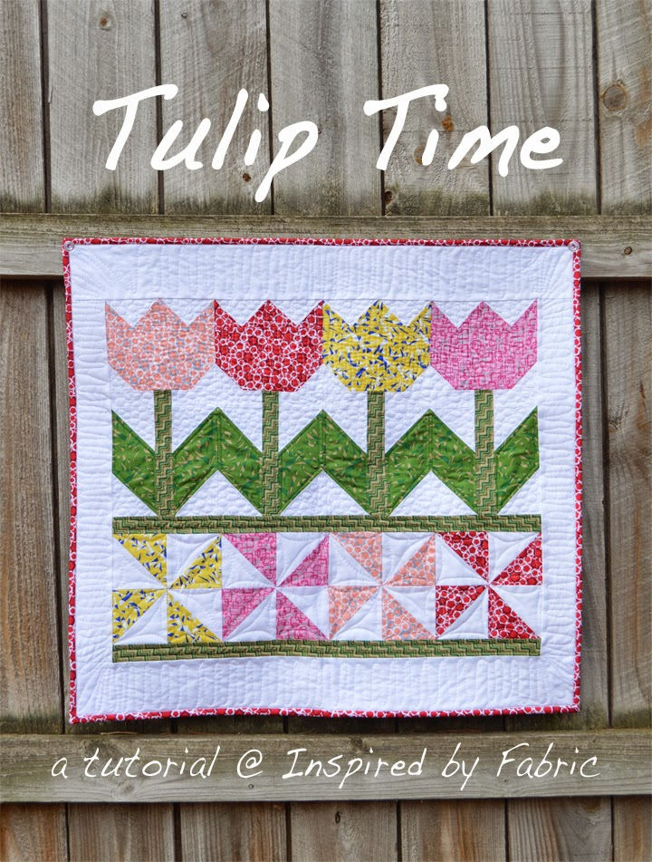 Quilted Wall Hanging inspiredfabric: tutorial: tulip time wall hanging