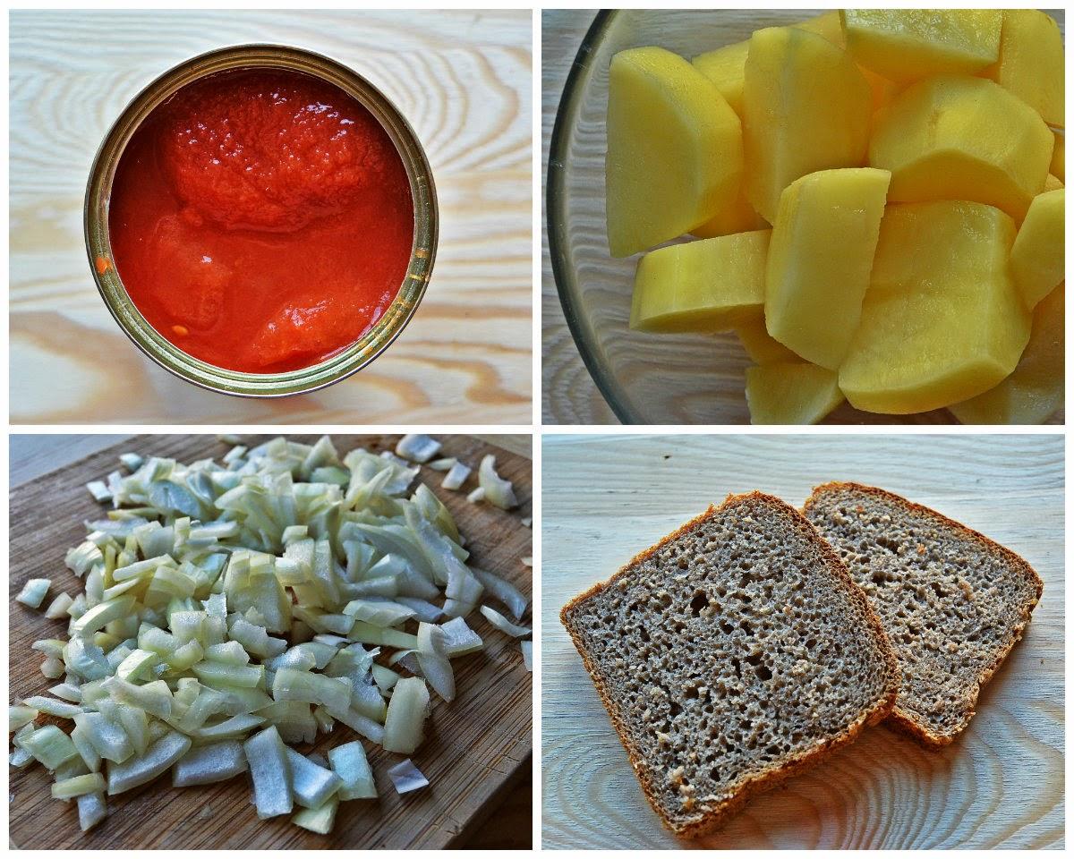 Kremowa zupa pomidorowa z grzankami - składniki