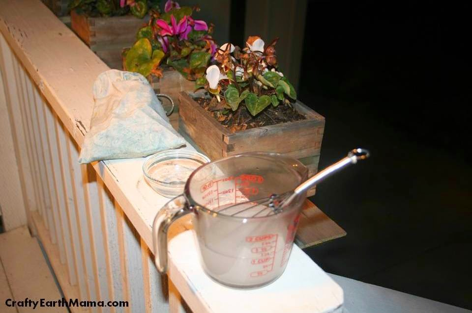 mixing lye into water