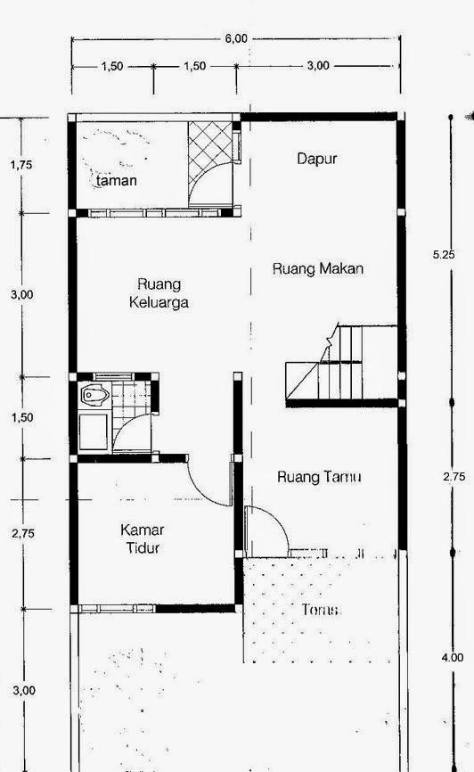 Gambar Rumah 2 Lantai Luas Tanah 72 M2 - Lantai 1