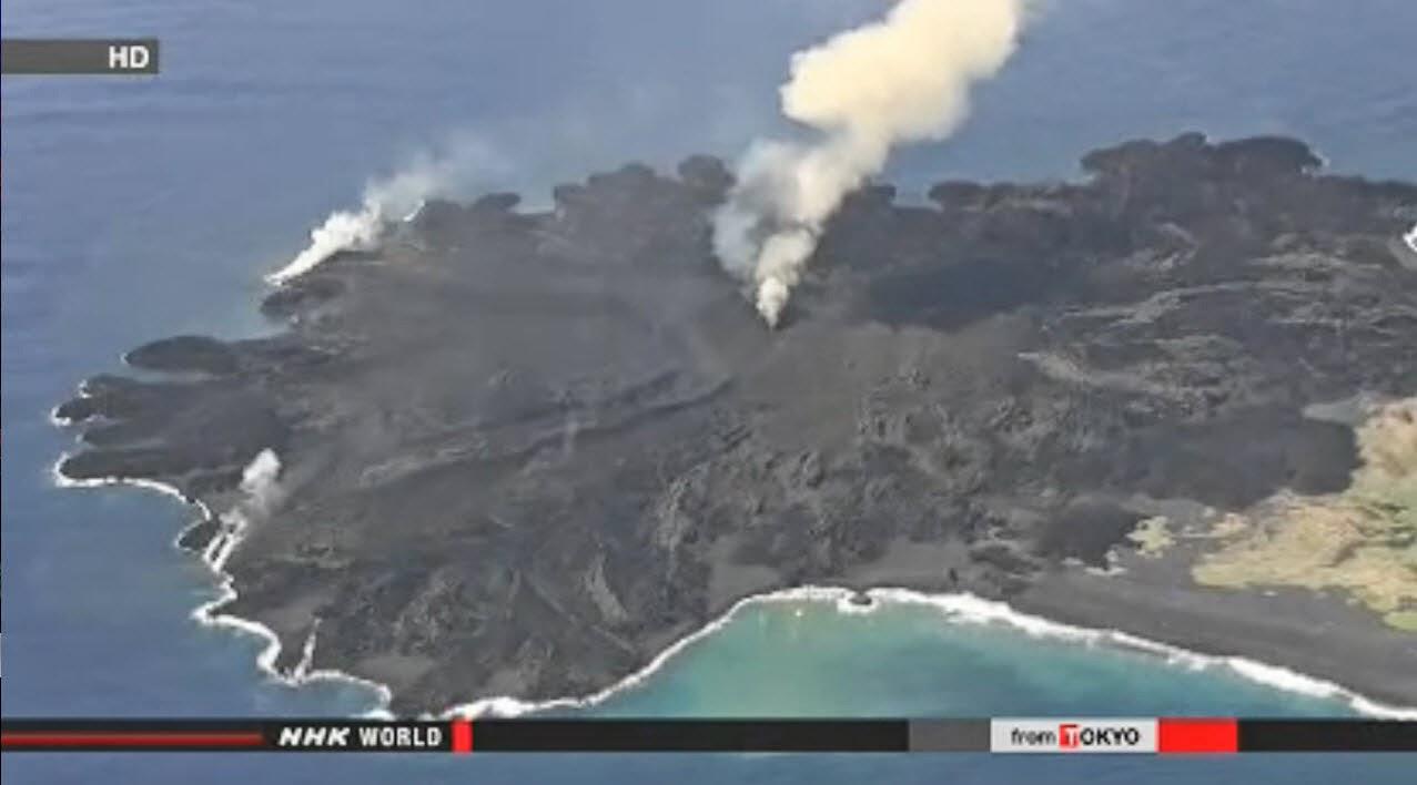 volcán en Nishinoshima