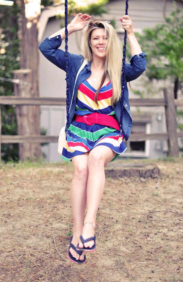 retro summer look, rainbow dress, long straight hair