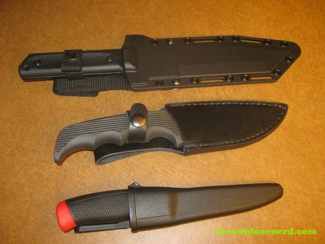 From top: Cold Steel GI Tanto, Kershaw Bear Hunter II, Mora Clipper