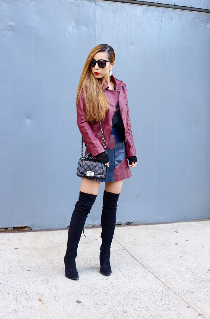 Chicwish burgundy faux leather jacket, chic wish burgundy colorblock skirt, kendra scott mirror mirror collection, kendra scott perla earrings, Kendra Scott mabel rose gold necklace, otk boots, Karen walker super duper sunglasses, chanel boy bag, fashion blog, fall fashion, street style