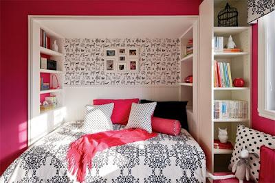 habitaciones negro rosa blanco