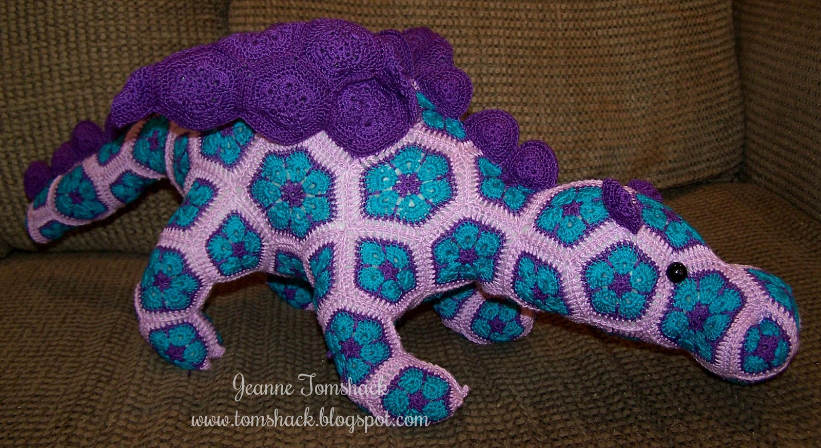 Free Knitted Crochet African Flower Pattern Dragon : Creative Bliss: Crochet African Flower Motif Dragon called ...
