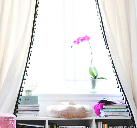 It Is A Beautiful Office And Transformation That You Should Definitely Go  See. What I Loved Most About Her Idea Was How The Tassel Curtains Draped  Around ...