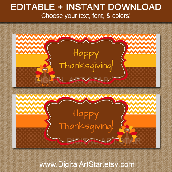 large Thanksgiving candy labels