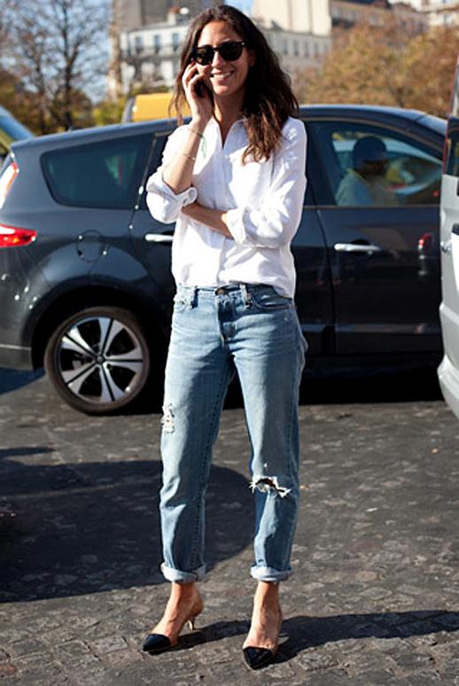 E L L E S A P P E L L E Boyfriend Jeans White Shirt