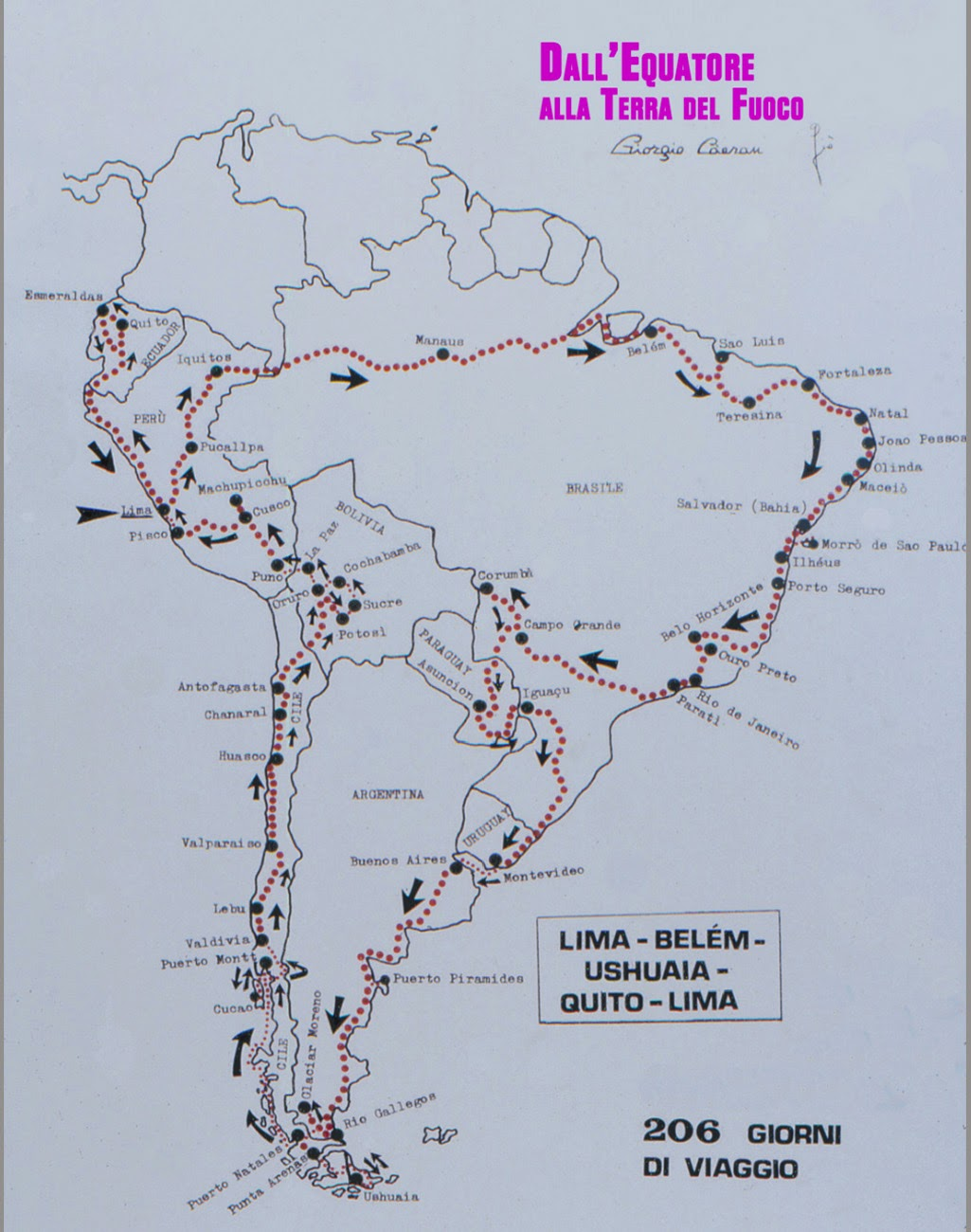 Viaggio nell'America del Sud.