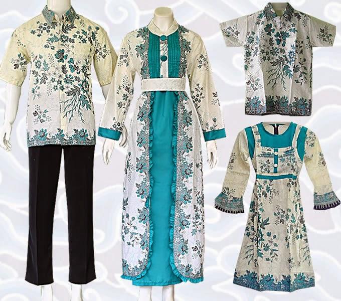 Contoh model gamis batik kombinasi brokat polos dua warna renda kebaya