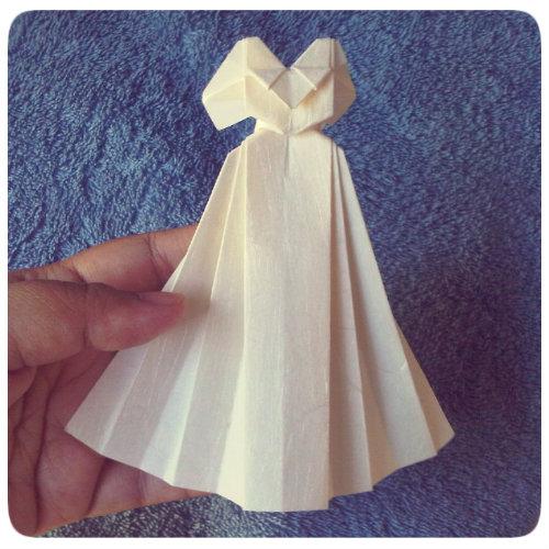 handmade by kikols: origami wedding dress :) - photo#20