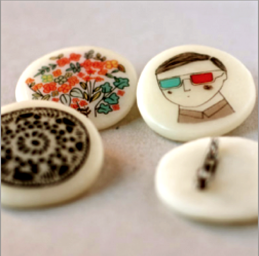 decorative button, prints on buttons, art on buttons