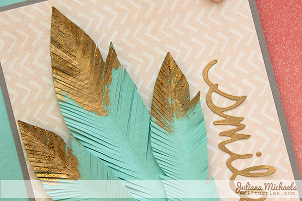 Gold Tipped Feathers Smile Card by Juliana Michaels detail
