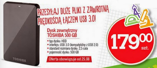 Dysk zewnętrzny TOSHIBA 500 GB z Biedronka ulotka