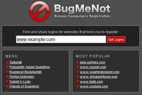 Bugmenot Passwords