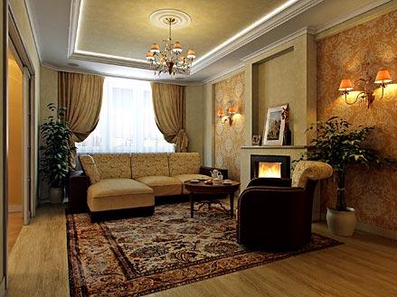 Фото дизайн зала в большом доме
