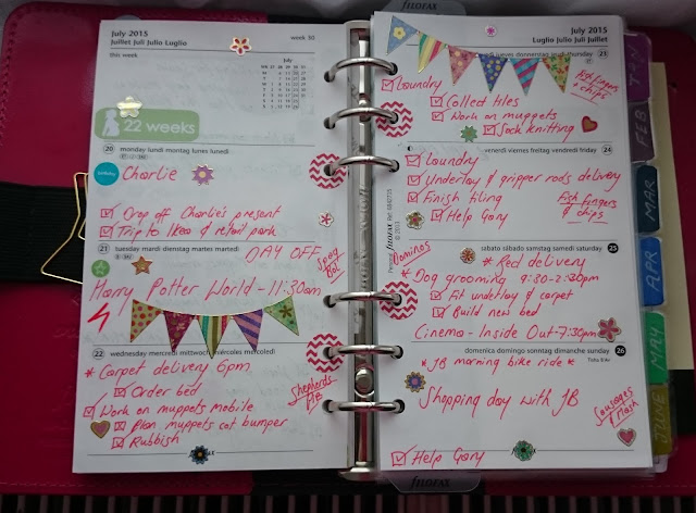 filofax week 30 decoration patent fuschia original personal organiser planner bunting stickers