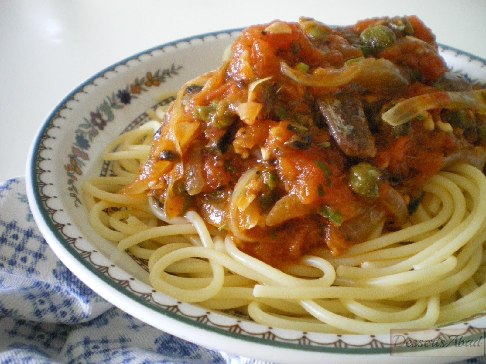 Spaguettis a la puttanesca