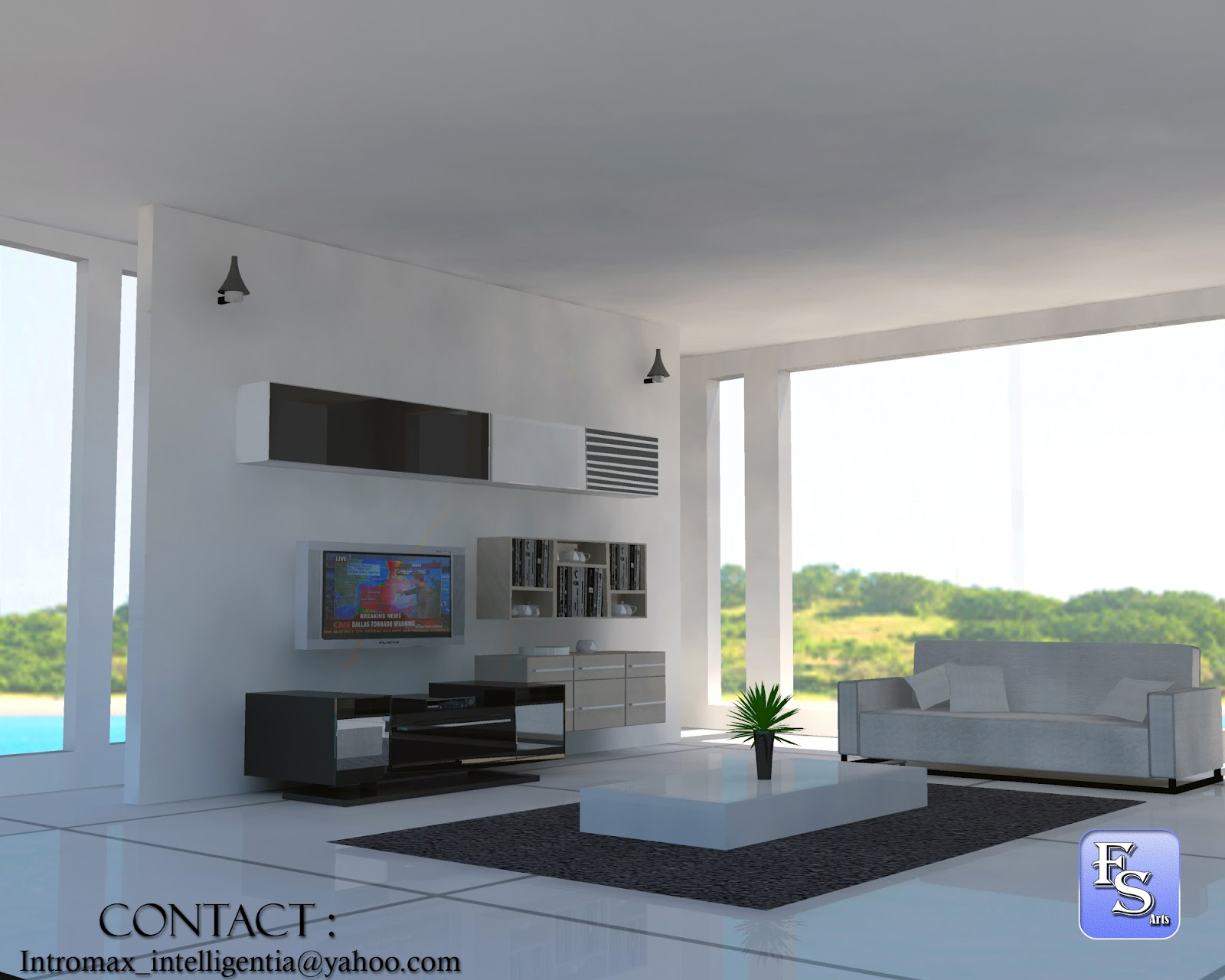 Simple style living room 3d computer generated art and for Basic 3d room design