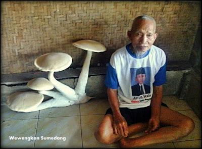 Bah Kusen bersama jamur raksasa yang tumbuh di rumahnya