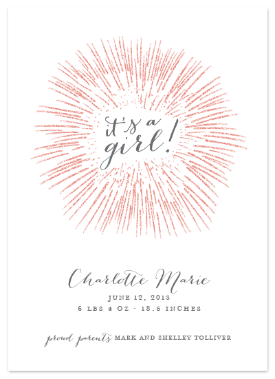 it's a girl glitter non-photo birth announcement