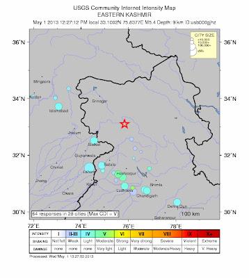 Epicentro sismo 5,8 grados en India, 01 de mayo 2013