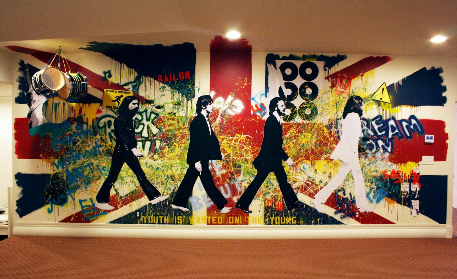The Beatles Union Jack Rock And Roll Painted Wall Mural Part 85