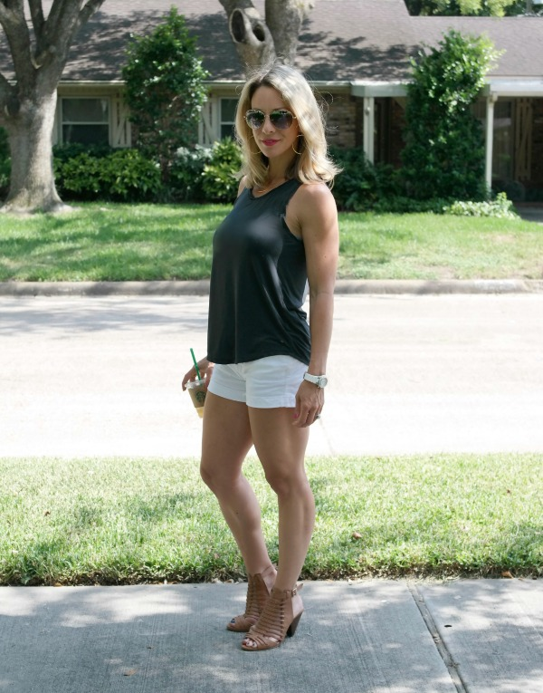 Summer Uniform - Jean Shorts and Tank Top, grey and white combo with tan sandals
