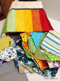 Front- rainbow scrappy basket and scraps