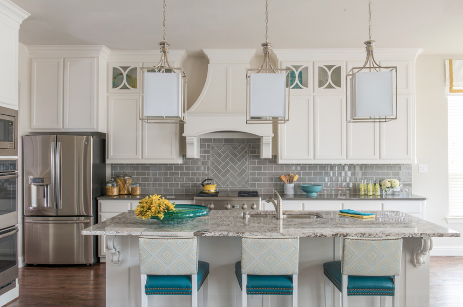 twist client project kitchen color scheme turquoise and yellow
