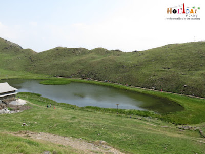 First view of Prashar Lake from the hill top