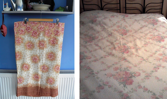 Vintage looking duvet and pillowcase