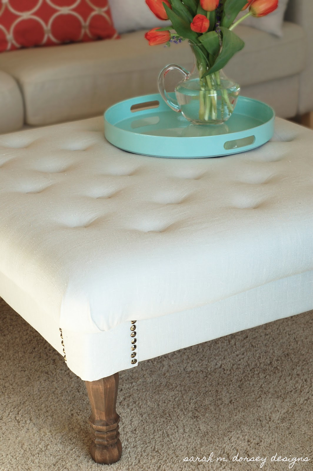 smdottoman1 How To Make A Tufted Ottoman From A Coffee Table