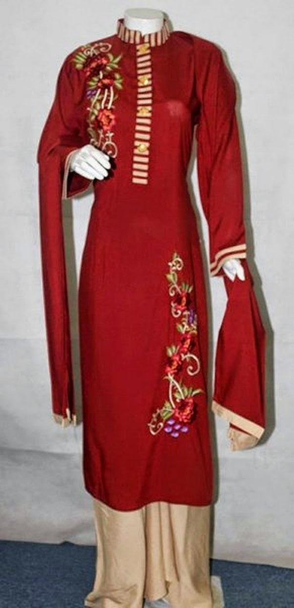 Pakistani Long Sleeves Shirts 2014   Pakistani Long Kurti Designs 2014 ...