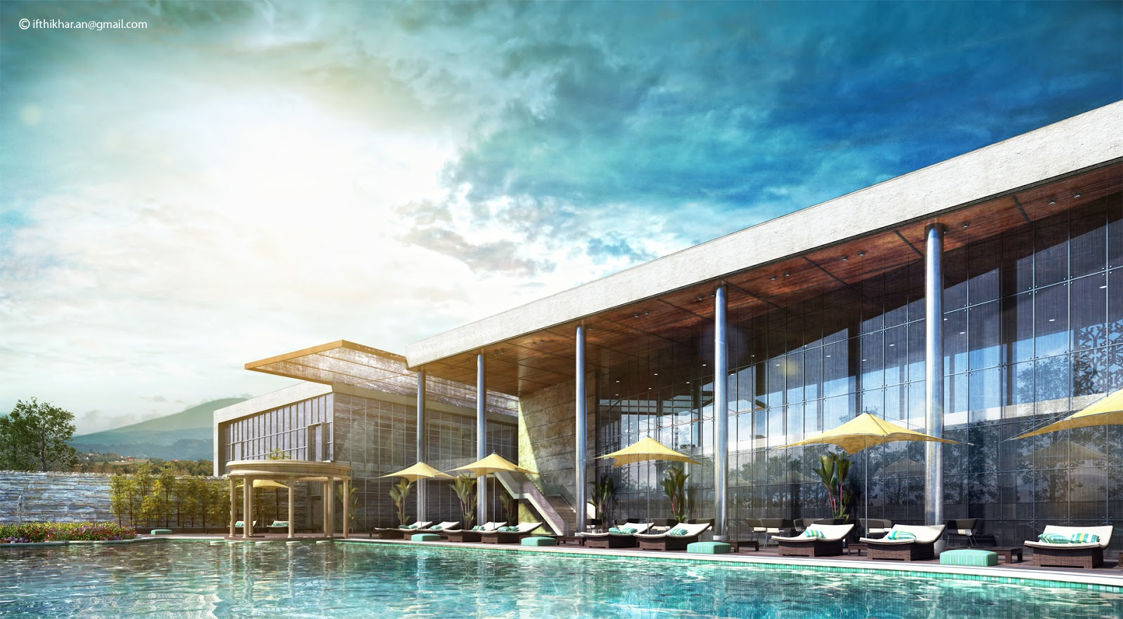 Modern Club House Swimming Pool Vray 3d Exterior