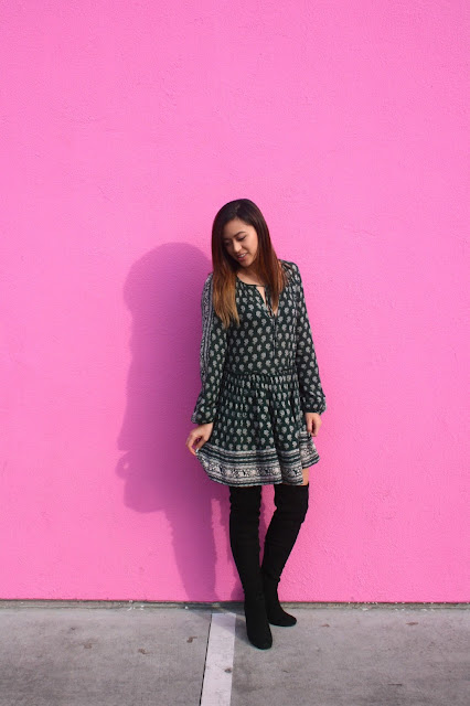 pink wall printed dress over the knee boots