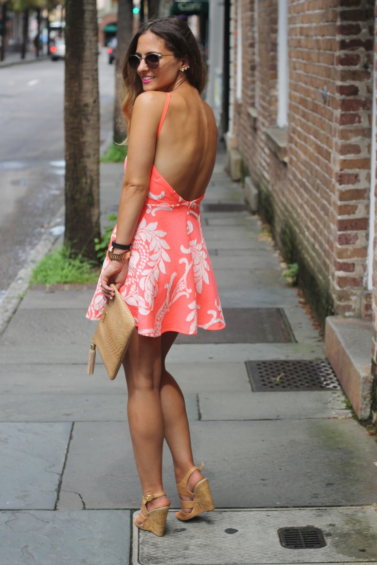 Backless Neon Orange and White Print Dress