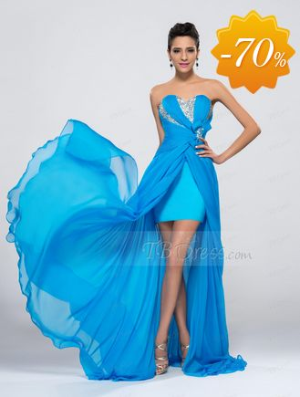 Fashionable Beaded Sweetheart Ruched Chiffon Split Front Evening Dress