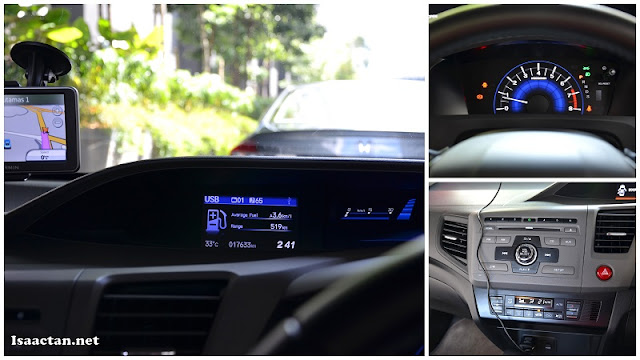 Part of the instrument cluster, showcasing Honda Civic's ECON Assist