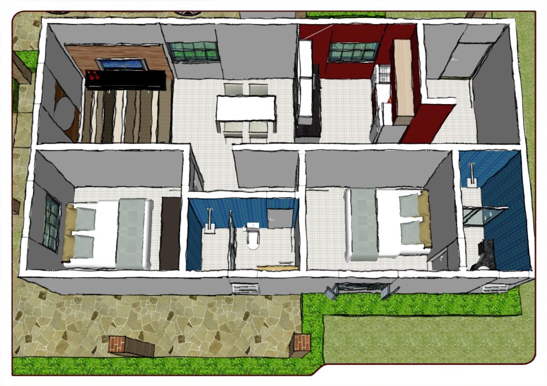 Reni barros marquise sketchup casa completa for Amueblar casa completa